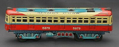 RARE Vintage 60's CK Japan Friction WESTERN PACIFIC 5879 Trolley Train Tin Toy