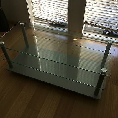 3 Tier Tempered Glass Top and Shelf Entertainment Unit / TV Stand