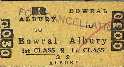 Railway ticket a trip from Bowral to Albury by the old NSWGR in 1959