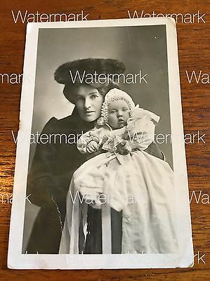 Antique 1901 Mother And Baby Real Photo Australian Historic Postcard Sydney