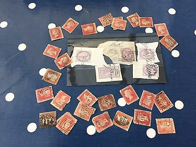 GB UK Victoria 28 penny red plates and a few lilacs on card