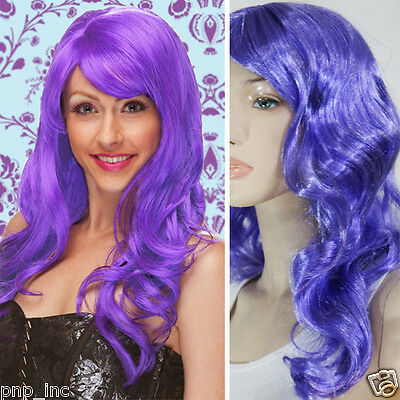Women Adult Bright Purple Full Wavy Long Wig Costume Cosplay Party Role-Playing