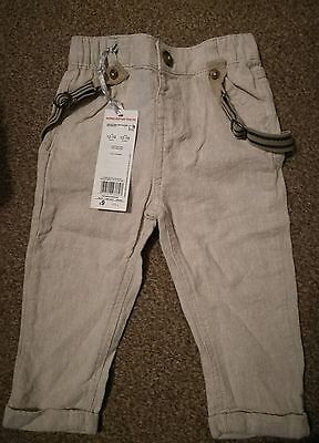 Baby boys linen summer trousers age 12-18m bnwt