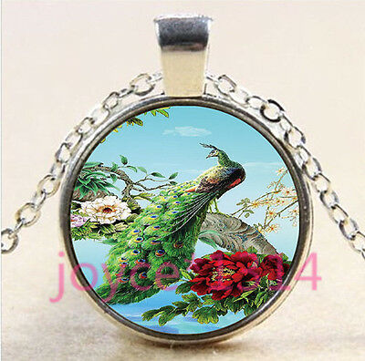 Flower Peacock Cabochon Tibetan silver Glass Chain Pendant Necklace #4427