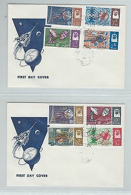 Middle East Qatar SPACE Gemini RED ovpt on 2 FDCs