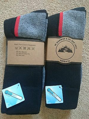 2 Pairs Mens Thick Cotton Coolmax Socks Hiking/Walking - W Brewin & Co, Large