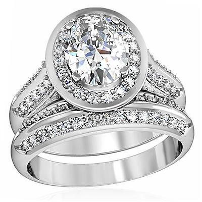 STERLING SILVER Oval Halo Simulated Diamond Engagement 2 Ring Set Size 5 J / 7 N