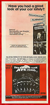 THE CARS THAT ATE PARIS - Original Vintage Australian Daybill Movie Poster -Weir