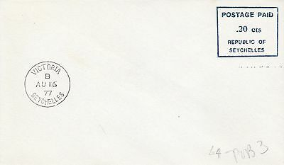 P 1919 Seychelles Victoria  16 August 1977 20c postage paid mark cover