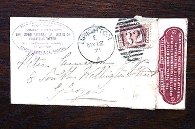 1871 GB Miniature Letter with half d stamp, Brighton postmark & advert