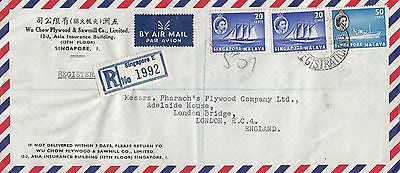 P 91 Singapore 1957 registered air commercial mail cover UK;  90c rate; 3 stamps