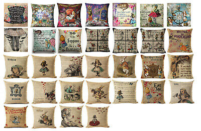 ALICE IN WONDERLAND DESIGNS!!! MAD HATTER! Linen Cushion Covers Great Gift!
