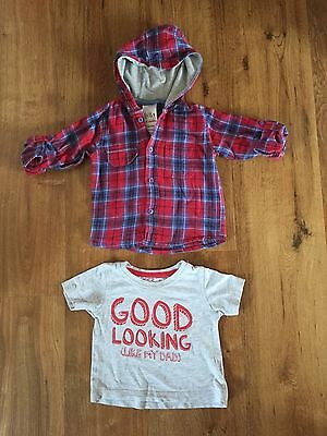 Baby Boys Cotton Hoody & T-Shirt Age 12/18 Months