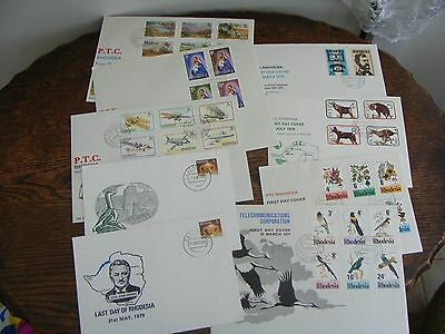 9 RHODESIA   FDCs  FIRST TELEPHONE 1976, TREES OF RHODESIA1976,BIRDS1977  + (3)