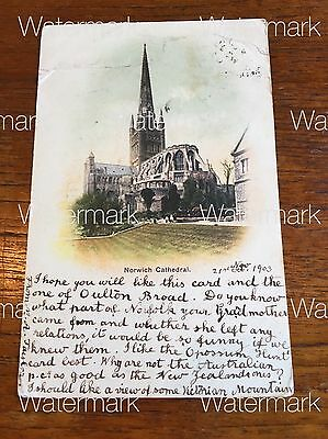 Antique 1903 Norwich Cathedral Norfolk  England Historic Postcard