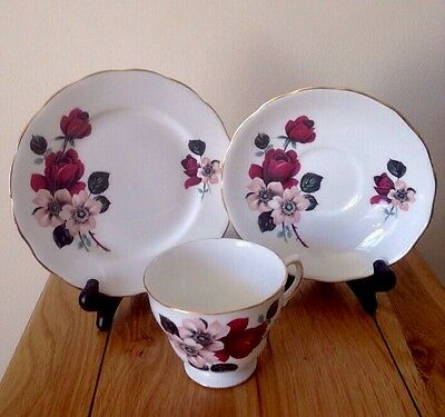 Vintage Queen Anne China Red Roses / Floral Trio 8302