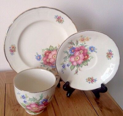 Stunning Vintage J Fryer, Tunstall Floral ChinaTrio