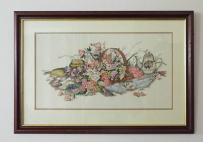 Vintage Embroidered Floral Picture In Wooden Frame
