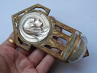 vintage French religious medal of Virgin Mary ,holy water font ( metal)