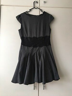 Grey Tea Dress With Black Lace Band Detail Size 14