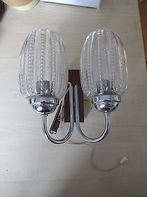 Vintage German 1950s Retro Kitsch Ceiling Glass Wall Light Lamp