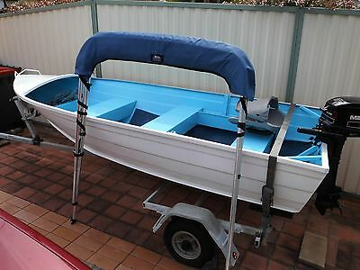 Aluminium tinny , trailer and 5hp outboard package