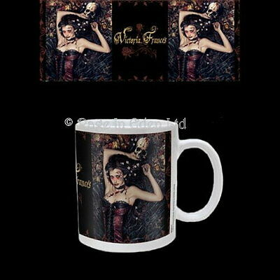 *SKULL GIRL IRIA* Victoria Frances Goth Fantasy Art White Coffee / Tea Mug
