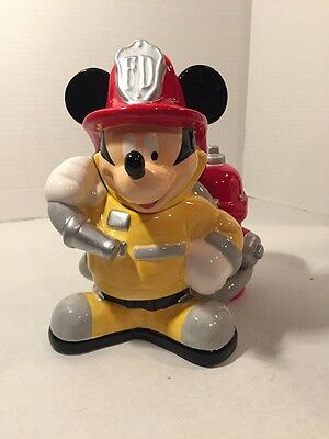 "Large Disney 10 Inch Fireman "" Mickey Mouse ""  Ceramic Cookie Jar Firefighter"