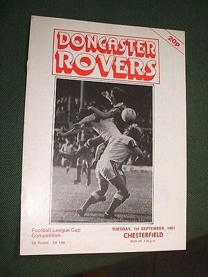 Doncaster Rovers V Chesterfield. 1981-82 League Cup