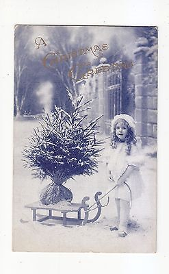 Charming Postcard Of A Girl With A Sledge With A Christmas Tree On It- Wedgewood
