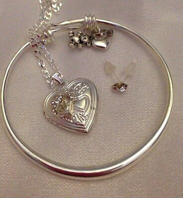 "Heart Deatailed Locket+sterling Sil 16"" Chain+tinkbell&ring Trinket+earingS/bxd"