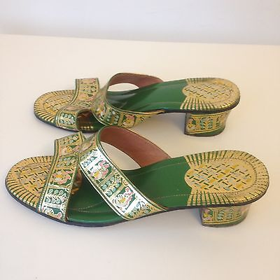 Vintage 1970s Hand painted Boho Gold Green Sandals