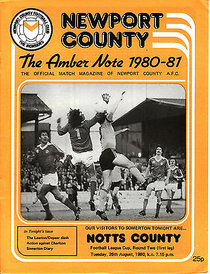 80/81 Newport County v Notts County League Cup