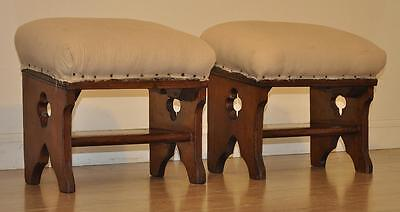 Attractive Pair of Antique Victorian Oak Church Kneelers Stools