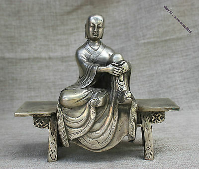 China Temple Old Silver Ksitigarbha Tang seng sanzang Buddha Statue Sculpture