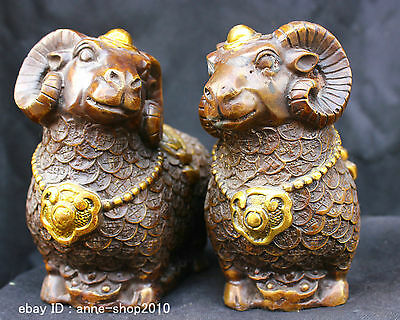 Chinese Old Tibetan Buddhism Temple Copper Brass statue of Zodiac Lucky Sheep