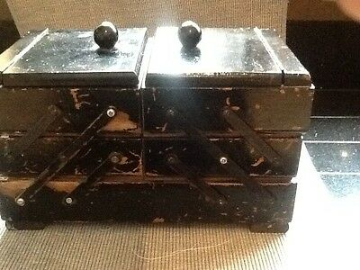 Vintage Wooden Cantilever Sewing Box with Contents