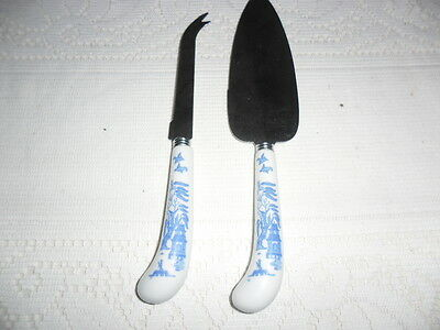 Blue Willow Ceramic Handle Cheese Knife And Cake Server