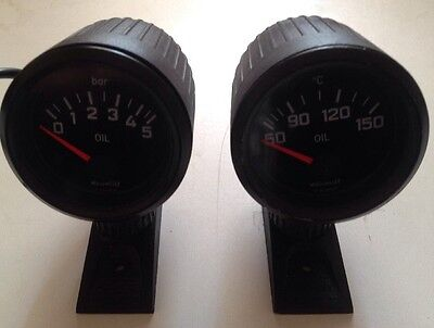 2 X CLASSIC MOTOMETER OIL TEMP & PRESSURE GAUGE Inc POD STAND ADJUSTABLE pair