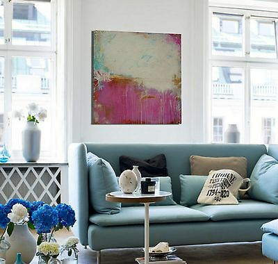 """Large Pink Gold and Turquoise Abstract Painting 40"""" Square Wall Art OOAK"""