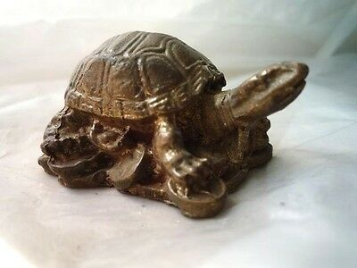 Antique Brass Turtle / Tortoise Feng Shui Good Health Longevity Lucky