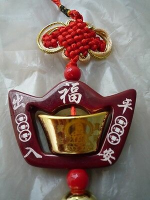 "Hanging Gold Ingot ""Yuen Bao"" Ancient Chinese Money Feng Shui Wealth Fortune"