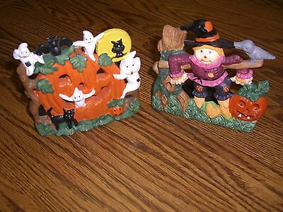 """2  Vintage Fall/Halloween Multi-color Ceramic Candle Holders/5"""" x 5"""""""