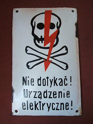 100% Original Vintage Antique Porcelain Enamel Danger Sign Skull