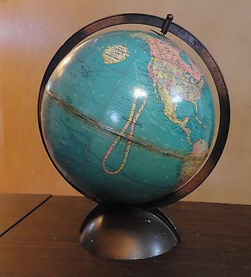 "REPLOGLE GLOBES World Standard Globe 1945 WWII Era 10"" in Good+ Condition"