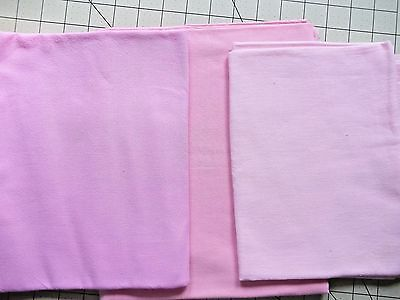 Vintage Feed /Flour Sack Lot of 3 Shades of Pink Fat Quarters PLUS   READ BELOW