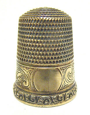 Victorian 14K Gold Sterling Silver Thimble Foulard Pattern 5.2 Grams