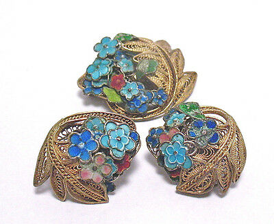 Victorian Chinese Export Sterling Silver Gold Enamel Filagree Jewelry Set