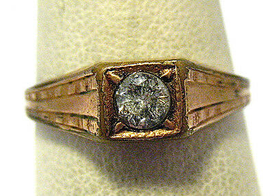 Victorian Gold Filled Genuine Diamond Ring Band Size 7.75   2 Grams