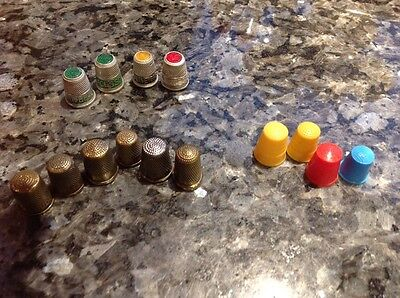 FOURTEEN VINTAGE ADVERTISING THIMBLES LOVELACE HUDSONS SOAP BERMALINE BREAD Etc